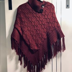 Burgundy Knit Poncho one size NWOT